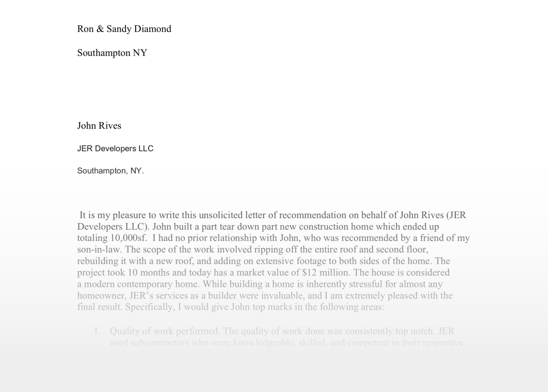 Recommendation Letter from Ron and Sandy Diamond.